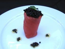 Receta de rollitos de salmón y caviar