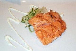 Receta de salmón con crema de puerros