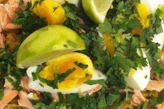 Receta de salmón con huevo cocido