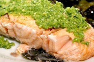 Receta de salmón con pesto