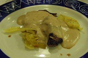 Receta de solomillo de cerdo en salsa cebolla y queso