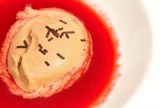Receta de sopa de frambuesa con helado de chocolate