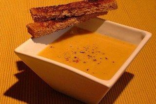 Receta de sopa fría de calabaza con cigalas