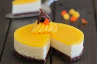 Receta de tarta de queso con gelatina de mango