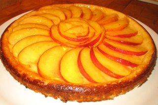 Receta de tarta de queso con nectarinas