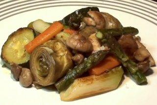 Receta de verduras salteadas con setas