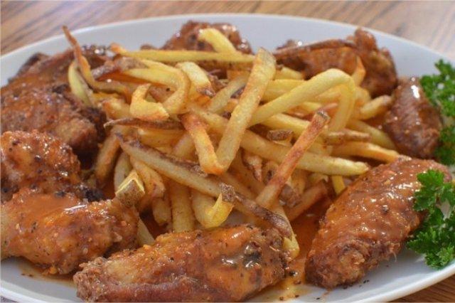 Receta de alitas de pollo fritas con miel