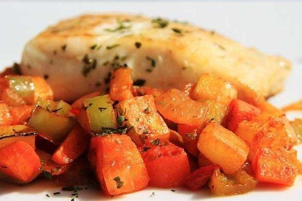 Receta de filete de pescado con vegetales
