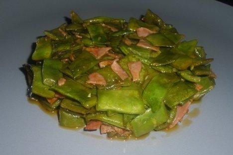 Receta de judías verdes con tomate y jamón