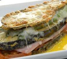 Receta de lasaña de berenjenas, jamón y queso