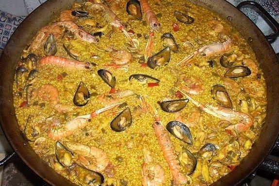 Receta de paella con marisco