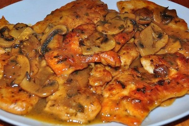 Filetes de Pollo en Salsa de Champiñones en Salsa Con Champiñones