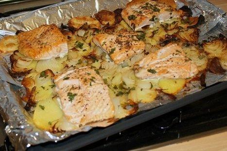 Receta de pescado al horno con papas