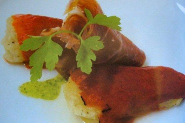 Receta de pimientos rellenos de puré de jamón