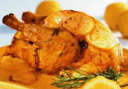 Receta de pollo rostizado con naranja