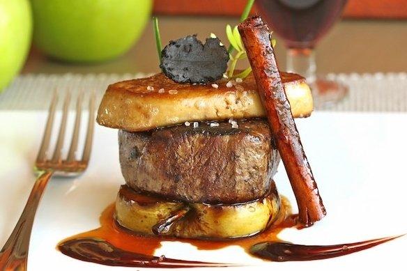 Carnisseria can roca recepta de filet amb foie i poma caramelitzada - Salsa para ternera a la plancha ...