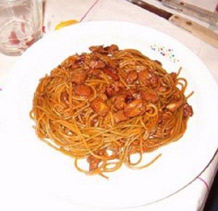 Receta de espaguetis con salchichas